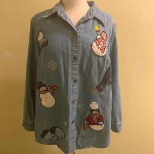 Holiday Denim Button up
